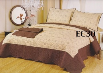 Poze Cuvertura de pat si 2 fete perna din bumbac brodat - EC30