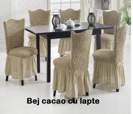 Poze Set 6 huse scaune creponate si elastice (cu volanase) - Bej Cacao cu lapte