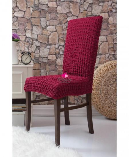 Set 6 huse scaune - creponate si elastice (fara volanase) - Bordo