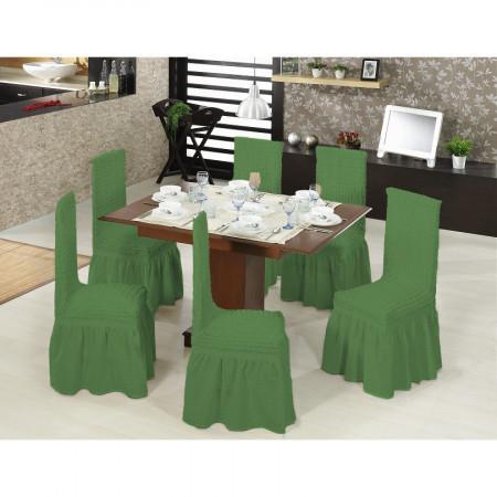 Set 6 huse scaune creponate si elastice (cu volanase) - Verde