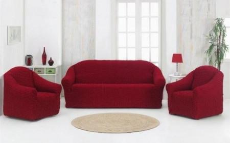Poze Set huse elastice pentru canapea 3 locuri, canapea 2 locuri si 2 fotolii, fara volanas, bordo