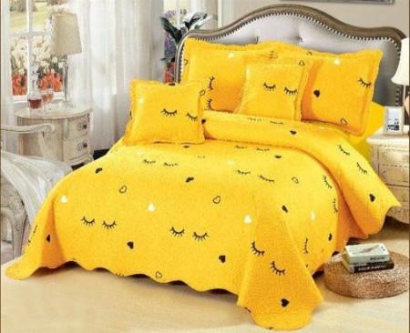 Cuvertura de pat din bumbac matlasat imprimat + 4 fete perna ES79