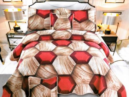 Cuvertura de pat din bumbac matlasat imprimat + 4 fete perna ES94