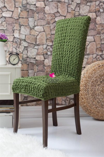 Poze Set 6 huse scaune - creponate si elastice (fara volanase) - Verde