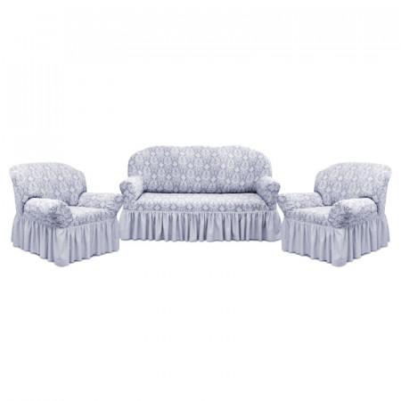 Set huse Multielastice Jacquard pentru canapea 3 Locuri si 2 fotolii, cu volanas, Gri
