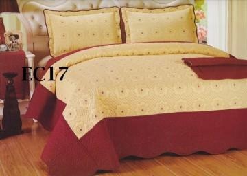 Poze Cuvertura de pat si 2 fete perna din bumbac brodat - EC17