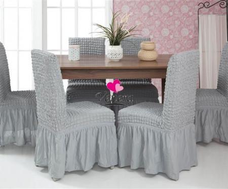 Poze Set 6 huse scaune creponate si elastice (cu volanase) - Gri