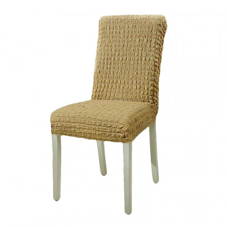 Set 6 huse scaune - creponate si elastice (fara volanase) - Bej inchis