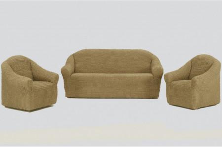 Poze Set huse elastice pentru canapea 3 locuri, canapea 2 locuri si 2 fotolii, fara volanas, bej inchis