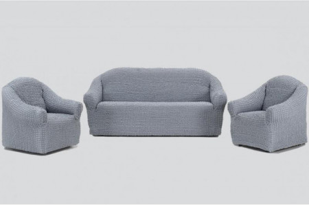 Poze Set huse elastice pentru canapea 3 locuri, canapea 2 locuri si 2 fotolii, fara volanas, gri