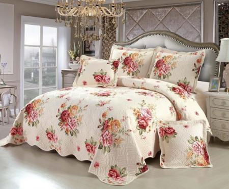 Cuvertura de pat din bumbac matlasat imprimat + 4 fete perna ES83