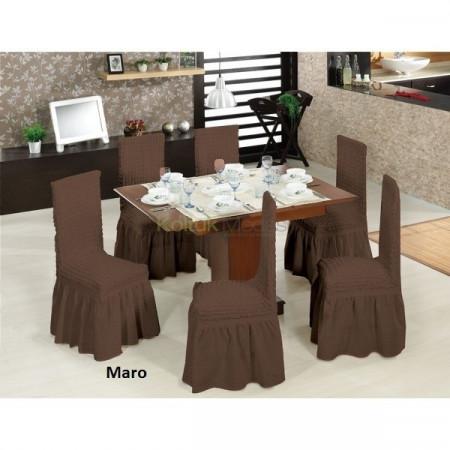 Set 6 huse scaune creponate si elastice (cu volanase) - Maro