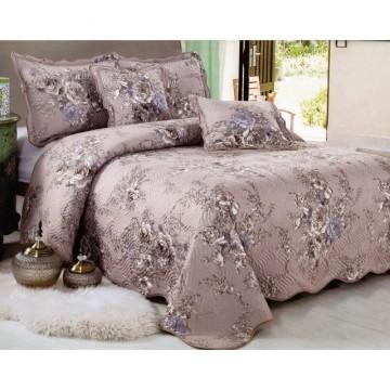 Poze Cuvertura de pat din bumbac brodat + fete perna ES19