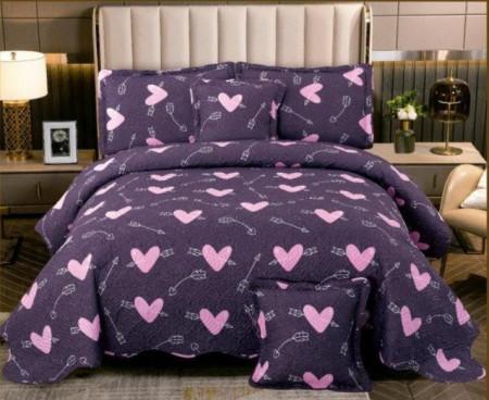 Cuvertura de pat din bumbac matlasat imprimat + 4 fete perna ES95