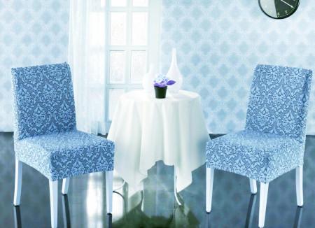 Set 6 huse Multielastice Jacquard pentru scaune, fara volanas - Bleu