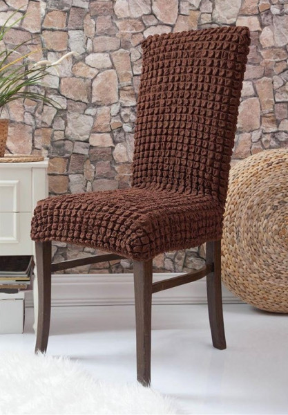 Set 6 huse scaune - creponate si elastice (fara volanase) - Maro