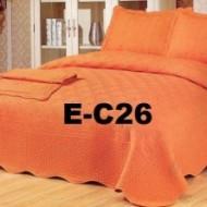 Cuvertura de pat si 2 fete perna din bumbac brodat - EC26