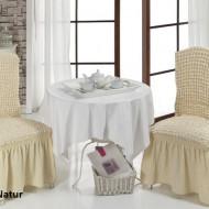 Set 6 huse scaune creponate si elastice (cu volanase) - Bej Natur