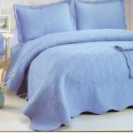 Cuvertura de pat si 2 fete perna din bumbac brodat - EC32