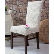 Set 6 huse scaune - creponate si elastice (fara volanase) - Crem