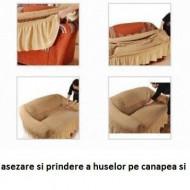 Set huse elastice pentru canapea 3 Locuri si 2 fotolii, fara volanas, Bej Natur