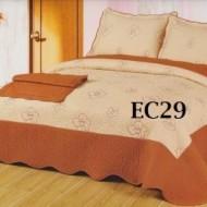 Cuvertura de pat si 2 fete perna din bumbac brodat - EC29