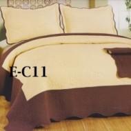 Cuvertura de pat si 2 fete perna din bumbac brodat - EC11