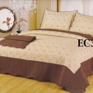 Cuvertura de pat si 2 fete perna din bumbac brodat - EC30