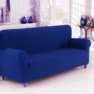Husa elastica din bumbac pentru Canapea 3 Locuri, culoare Albastru