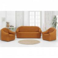 Set huse elastice pentru canapea 3 locuri, canapea 2 locuri si 1 fotoliu fara volanas, Mustar Inchis