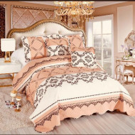 Cuvertura de pat din bumbac matlasat imprimat + 4 fete perna ES78