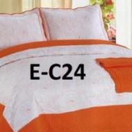 Cuvertura de pat si 2 fete perna din bumbac brodat - EC24