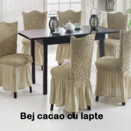Set 6 huse scaune creponate si elastice (cu volanase) - Bej Cacao cu lapte