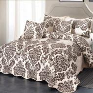 Cuvertura de pat din bumbac matlasat imprimat + 4 fete perna ES18