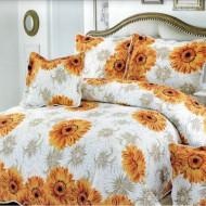 Cuvertura de pat din bumbac matlasat imprimat + 4 fete perna ES39