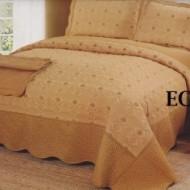 Cuvertura de pat si 2 fete perna din bumbac brodat - EC19