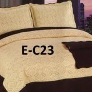 Cuvertura de pat si 2 fete perna din bumbac brodat - EC23