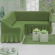Husa elastica pentru coltar cu volanas culoare Verde