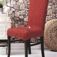 Set 6 huse scaune - creponate si elastice (fara volanase) - Caramiziu