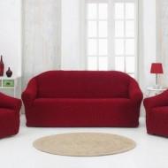 Set huse elastice pentru canapea 3 Locuri si 2 fotolii, fara volanas, Bordo
