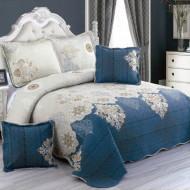 Cuvertura de pat din bumbac matlasat imprimat + 4 fete perna ES49