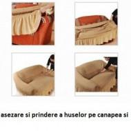 Husa elastica pentru Coltar fara volanas culoare Bej Inchis