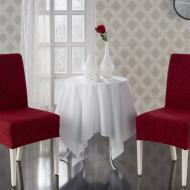 Set 6 huse Multielastice Jacquard pentru scaune, fara volanas - Bordo