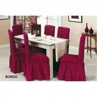 Set 6 huse scaune creponate si elastice (cu volanase) - Bordo