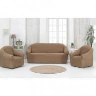 Set huse elastice pentru canapea 3 locuri, canapea 2 locuri si 2 fotolii, fara volanas, bej cacao cu lapte