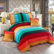 Cuvertura de pat din bumbac matlasat imprimat + 4 fete perna ES14