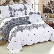 Cuvertura de pat din bumbac matlasat imprimat + 4 fete perna ES80