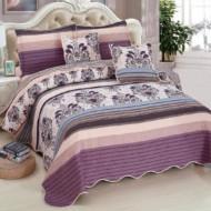Cuvertura de pat din bumbac matlasat imprimat + 4 fete perna ES82