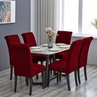 Set 6 huse elastice pentru scaune culoare Bordo