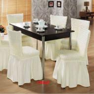 Set 6 huse scaune creponate si elastice (cu volanase) - Crem